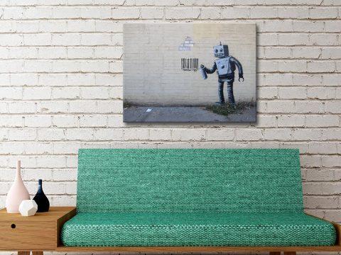 Banksy Robot Barcode Canvas Artwork Online Australia
