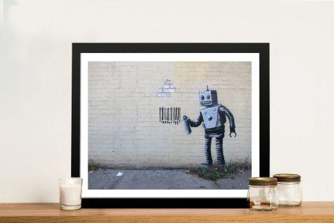 Banksy Robot Barcode Framed Picture