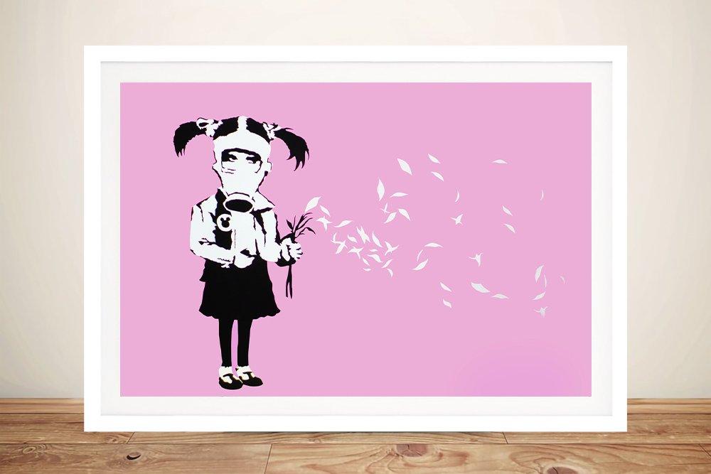 Banksy girl in gas mask Framed Wall Art