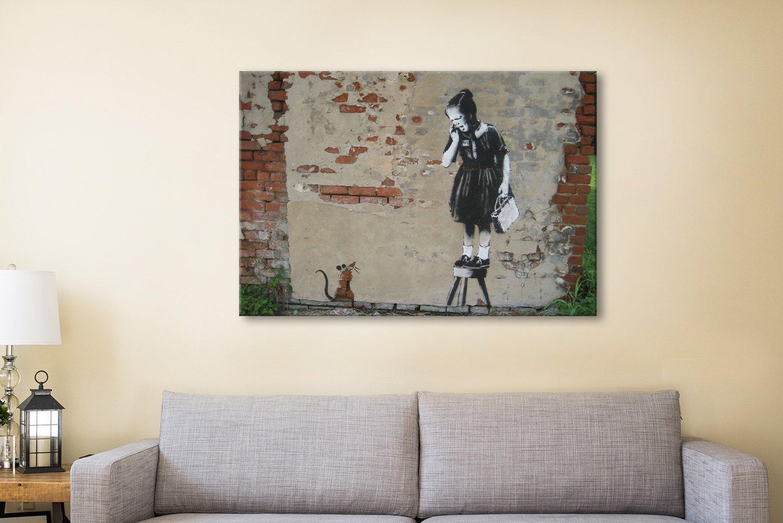 Banksy Rat girl Canvas Artwork