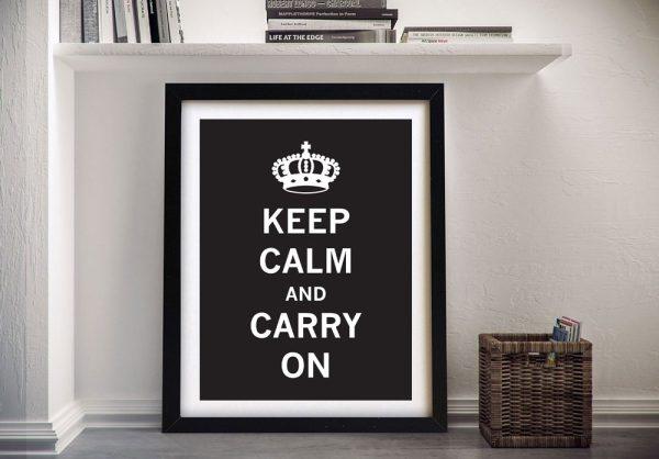 Framed Monochrome Keep Calm Poster Print