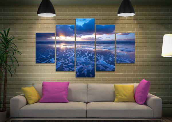 Blue Reflections 5 Piece Canvas Print