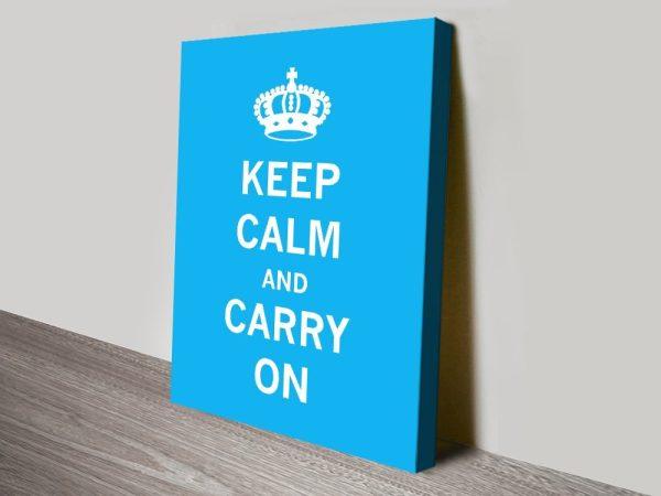 Stretched Canvas Light Blue Keep Calm Art