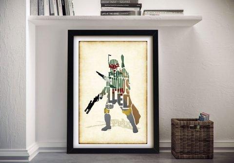 Framed Boba Fett Print Quality Star Wars Art