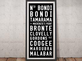 Bondi Beach Tram Destination Sign Framed Wall Art