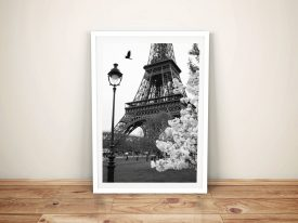 Eiffel Tower Portrait Black and White Art Print