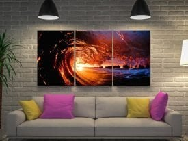 Fire Water Triptych Canvas Wall Art Prints