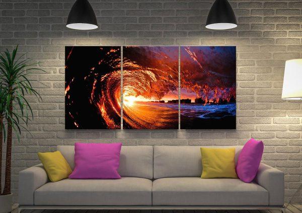 Fire Water Triptych Canvas Wall Art Prints
