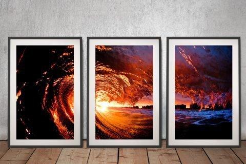 Framed Fire Water Triptych Art for Sale AU
