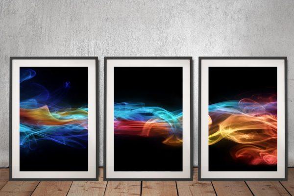 Fire & Ice Framed 3-Piece Canvas Art Set