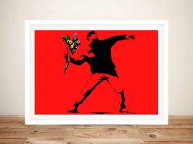 Banksy Rage Flower Thrower Red Canvas Art Print