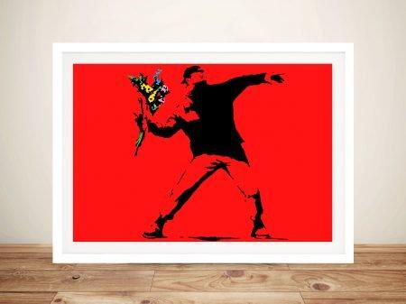 Banksy Rage Flower Thrower Red Canvas Art Print