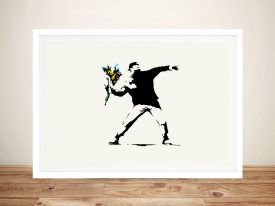 banksy-flower thrower Rage Framed Wall Art