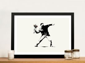 Banksy Flower Thrower Rage Framed Wall Art