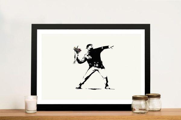 Banksy Flower Thrower Rage Framed Wall Art