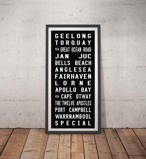 Geelong Tram Scroll Canvas Word Art Australia
