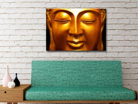 Golden Buddha Face Canvas Artwork Melbourne