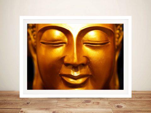 Golden Buddha Face Framed Wall Art