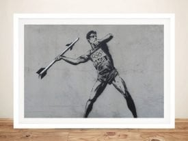 Javelin Thrower Framed Banksy Stretched Canvas