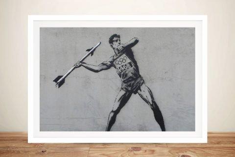 Javelin Thrower Framed Banksy Stretched Canvas