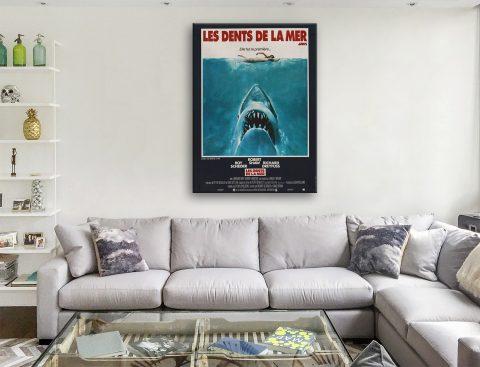 Jaws French Movie Poster Canvas Artwork Brisbane