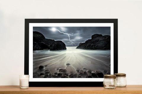 Framed Atmospheric Lightning Artwork