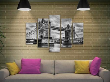 London Bridge black diamond shaped canvas art