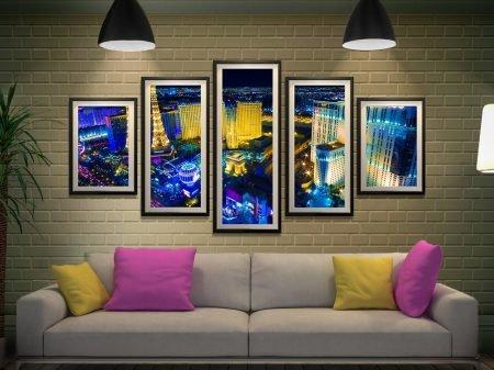 Las Vegas Skyline at Night Split-Panel Art