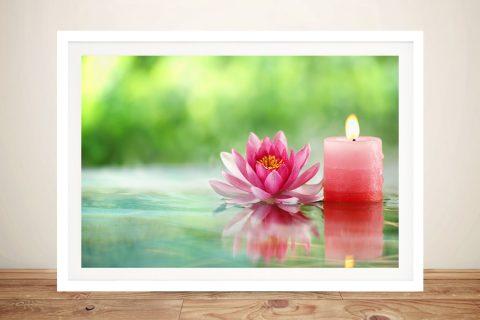 Framed Lotus Flower Calming Art on Canvas