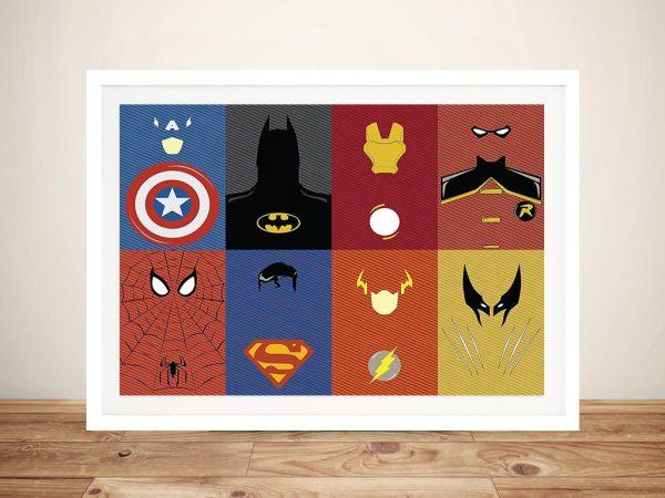 Marvel Characters DC Comics Framed Wall Art
