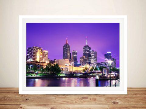Melbourne Cityscape Purple Framed Home Decor Art