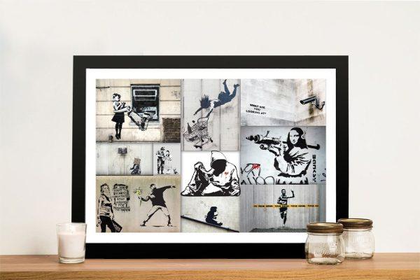 Buy a Mono Colour Banksy Collage Print