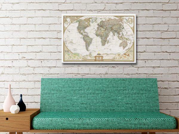 NG World Map Canvas Artwork Gift Ideas AU