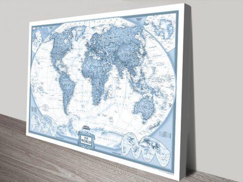Blue World Map canvas print