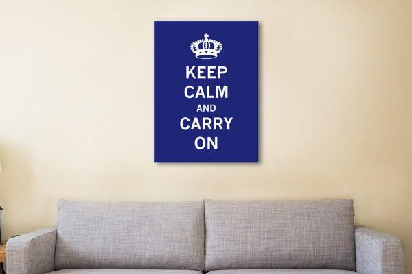 Navy Blue Typographic Keep Calm Art
