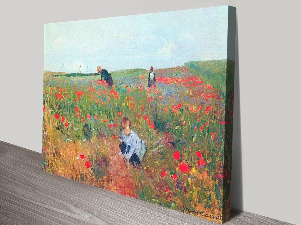 Poppy in the field, Cassatt Classical Art Print