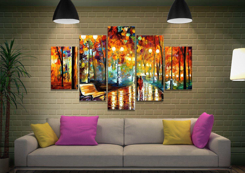 Rain's Rustle Colourful Canvas Art Set for Sale