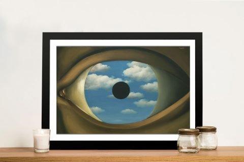 The False Mirror Framed Magritte Art on Canvas