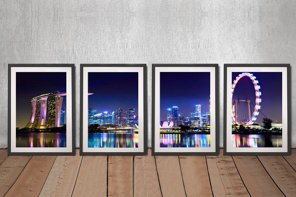 Singapore Skyline 4-Piece Wall Art for Sale AU