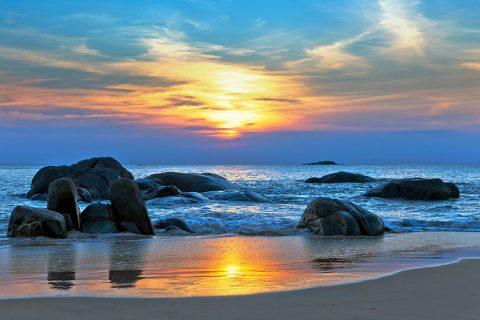 Sunset Rocks Beach Surf Artwork