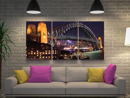 Sydney Harbour Bridge at-Night 3 Panels Canvas Art
