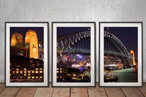 Sydney Harbour Bridge at Night 3 Panels Framed Artwork