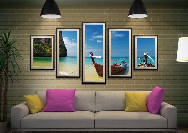 Framed Thai Paradise 5-Panel Art Set