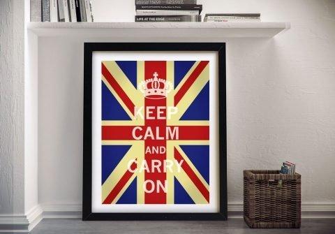 Framed Union Jack Keep Calm Wall Art AU
