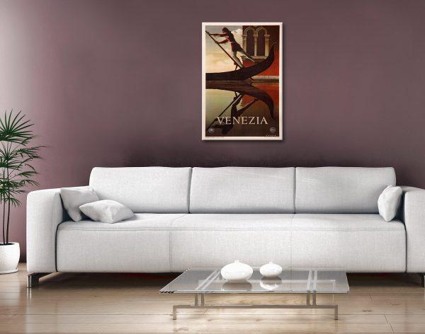 Venice Travel Poster Canvas Artwork