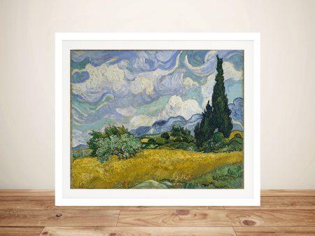 Wheat Field with Cypresses Vincent van Gogh Framed Artwork Australia