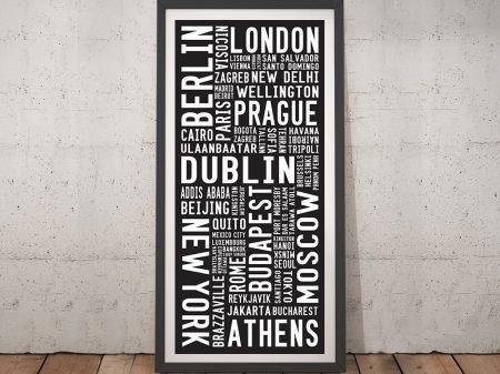 World Cities Scroll Framed Wall Art