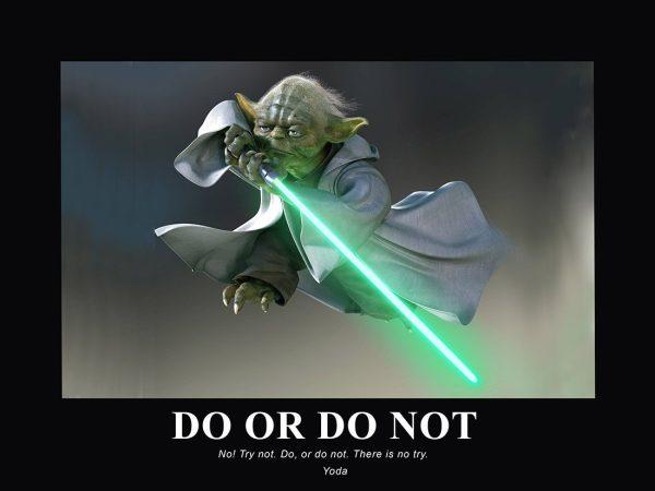 Yoda Motivational Poster Print on Canvas Artwork