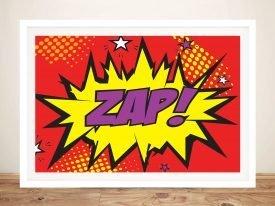 Zap Red Comic Book Canvas Wall Art Print