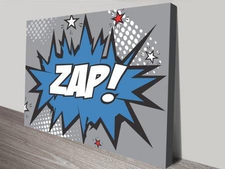 Zap! Blue & Grey Pop Art Canvas Print